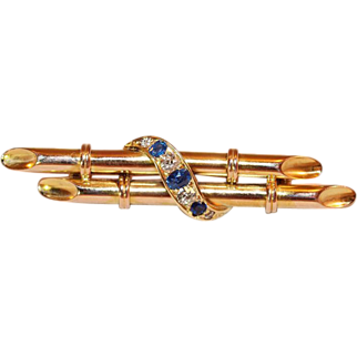 Victorian 15 Carat Gold Diamond and Sapphire Brooch