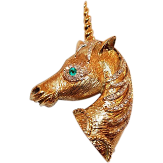 18K Gold and Diamond Unicorn Brooch