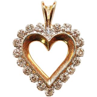 18k Yellow Gold and Diamond Heart Pendant