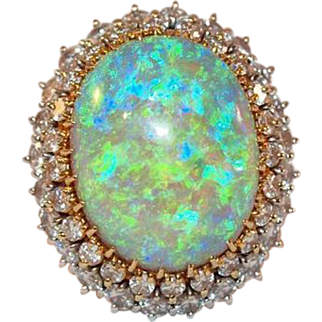 Spectacular Vintage 14k Gold Opal and Diamond Ring
