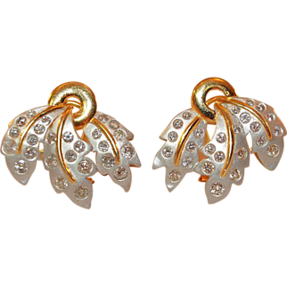 Rex 14K Yellow and White Gold and Diamond Earrings
