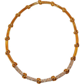 Gorgeous 18K Yellow Gold and Diamond Collar Necklace