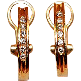14K Gold and Diamond Channel Set Hoop Earrings
