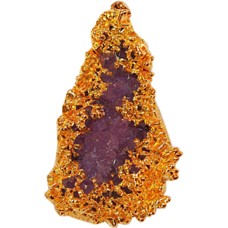 Amethyst Crystal Geode Pendant in Gold Foil Wrap