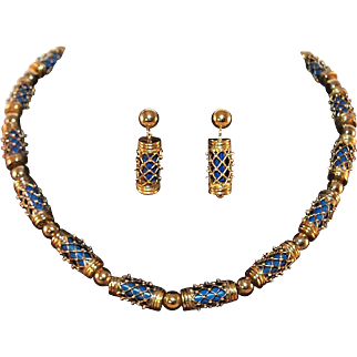 Vintage Museum of Modern Art Lapis and Gold Vermeil over Sterling Silver Necklace and Earrings