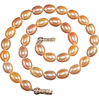 Multi-Colored Freshwater Cultured Pearl Necklace with 14K Diamond Clasp