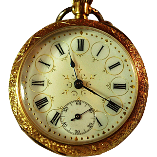 Swiss Gentleman's 18K Gold Open Faced Pocket Watch with Intricate Gilt Dial