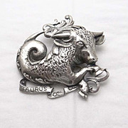 Vintage Cini Taurus Bull Zodiac Pin JUST REDUCED!