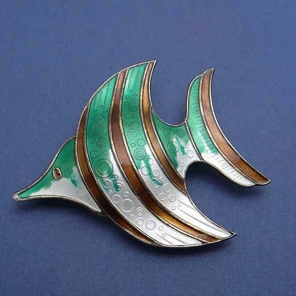 Large Vintage David Andersen Norway Sterling Enameled Fish Pin