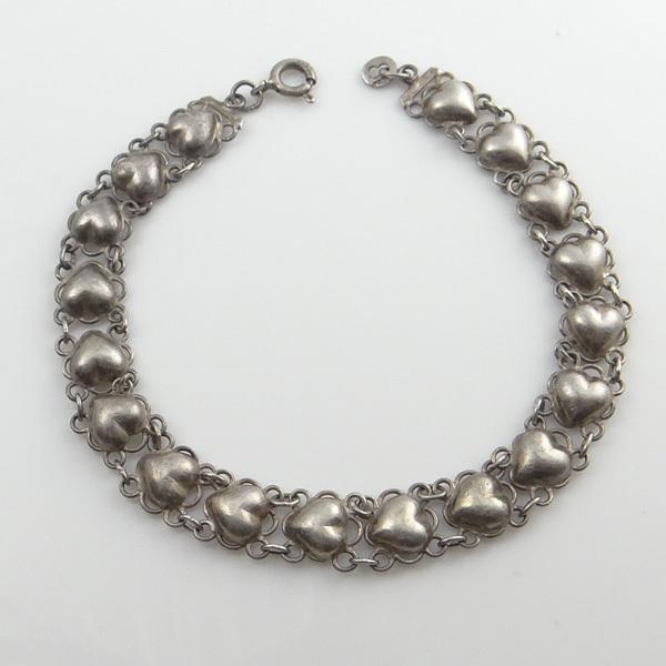 Vintage Sterling Silver Half Puffy Heart Link Bracelet