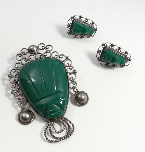 Vintage Sterling Silver Green Onyx Mexican Face Pin & Earrings