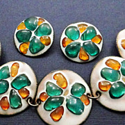 Vintage Mid Century Enamel and Fused Glass Set Bracelet and Clip On Earrings