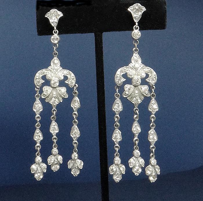 Vintage Art Deco Paste Earrings 1920s Screw Backs LONG!