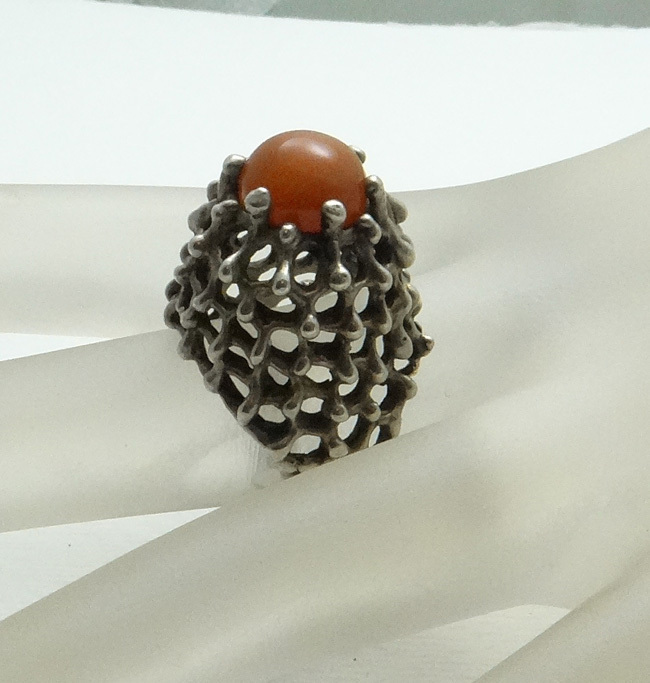 Vintage Sterling Silver Modernist Coral High Ring