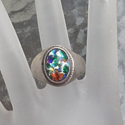 Vintage  Sterling Silver Foil Art Glass Ring