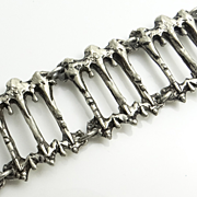 Modernist Abstract Brutalist Pewter Bracelet