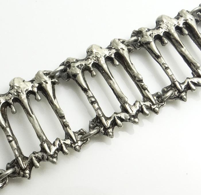 Modernist Abstract Brutalist Pewter Bracelet JUST REDUCED!