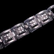 Vintage Wre Floral Sterling Silver Link Bracelet