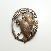 Vintage Art Nouveau Sterling Silver Mixed Metal Love Bird Pin Brooch