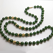 Vintage 14KT Gold Jade Bead Necklace Fortunoff New York