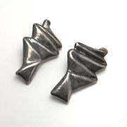 Huge Modernist Abtract Sterling Silver Earrings Clip On