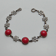 Vintage Art Nouveau Red Glass Flower Sterling Silver Bracelet