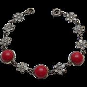 Vintage Art Nouveau Red Glass Flower Sterling Silver Bracelet