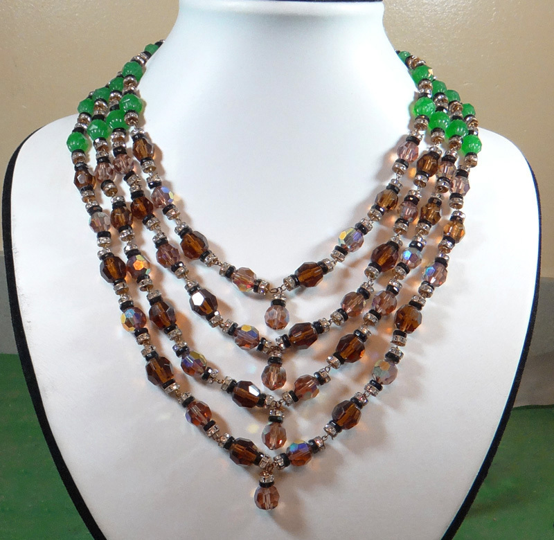 Massive Vintage DeMario Aurora Borealis Crystal Necklace