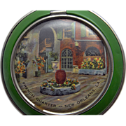 1930s Enameled Pictorial Souvenir Powder Compact RARE French Quarters New Orleans Louisiana !
