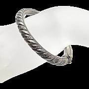Vintage Art Nouveau Repousse Sterling Silver Bangle Bracelet