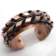 Vintage Wide Modernist Renoir Copper Cuff Bracelet