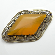 HUGE Vintage 8kt  Gold Amber Pin Brooch