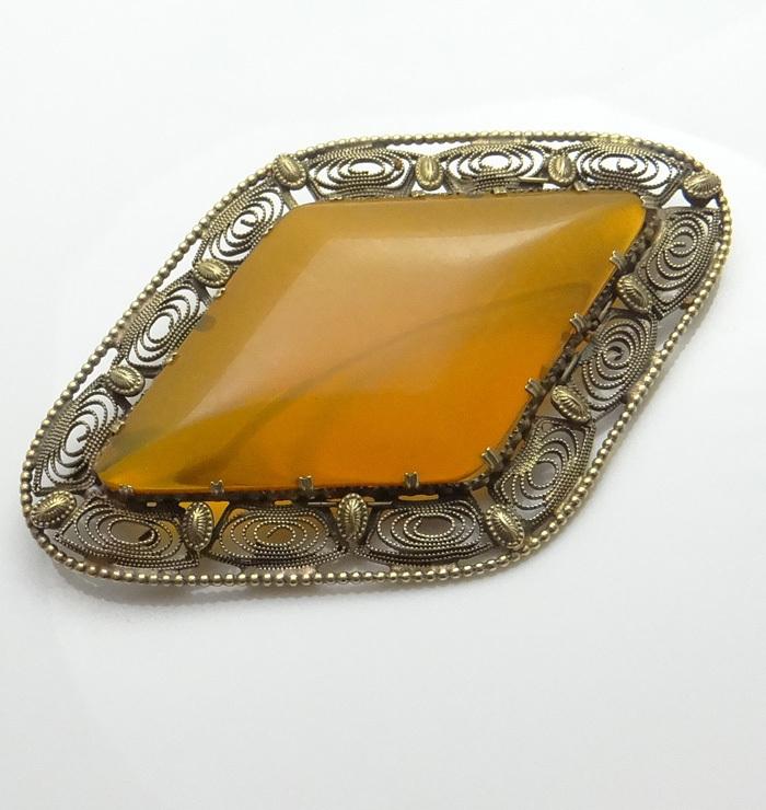 HUGE Vintage 8kt  Gold Amber Pin Brooch