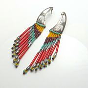 Long Colorful Sterling Silver Hand Made Bead Earrings 4 INCHES!
