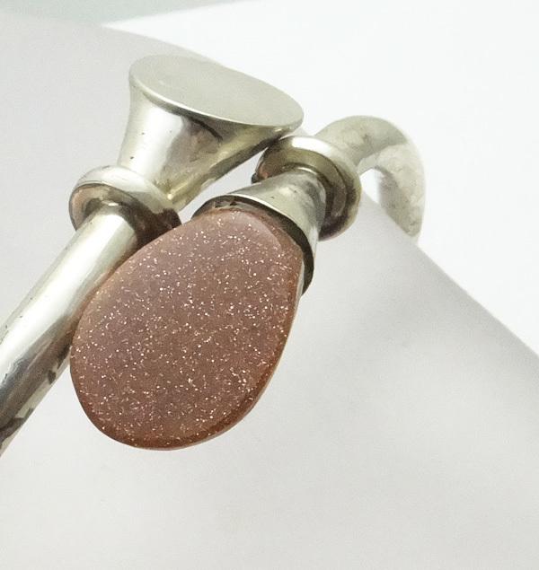 Mexican Sterling Silver Modernist Goldstone Bypass Bracelet