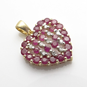 14KT Gold Ruby Diamond Heart Pendant
