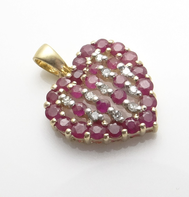 14KT Gold Ruby Diamond Heart Pendant JUST REDUCED!