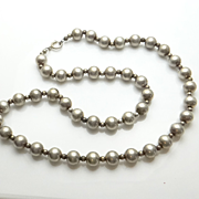 Long Vintage Sterling Silver Bead Necklace