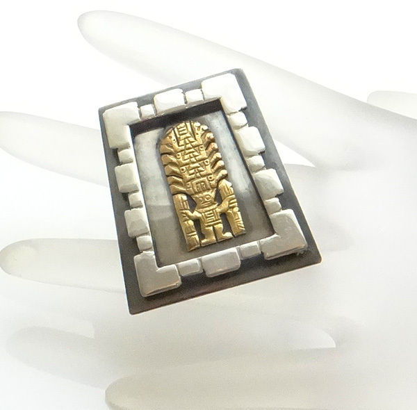 Sterling Silver 18Kt Gold Peruvian Inca Pin Pendant JUST REDUCED!