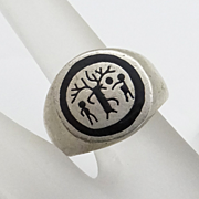 Sterling Silver Tree of Life Enamel Ring Size 9 1/2