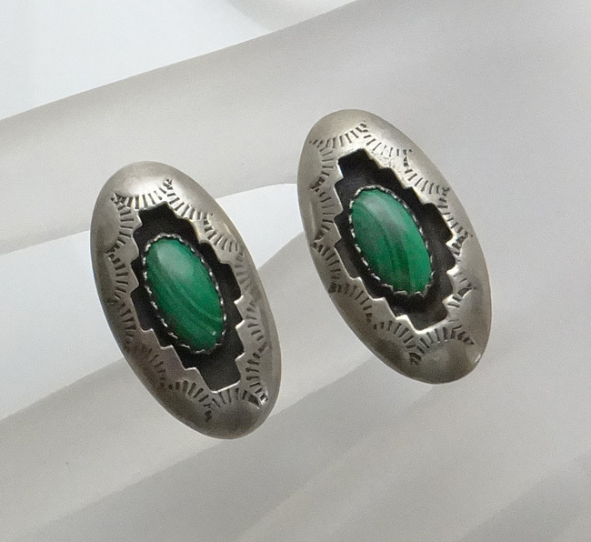 Sterling Silver Indian Shadow Box Malachite Earrings