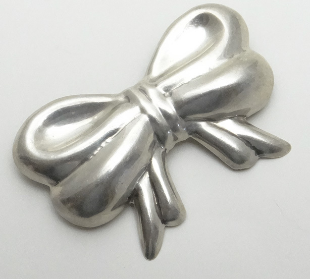 Large Mexican Sterling Silver Repousse Bow Pin Pendant JUST REDUCED!