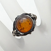 Genuine Amber Sterling Silver Ring