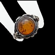 Genuine Amber Sterling Silver Ring