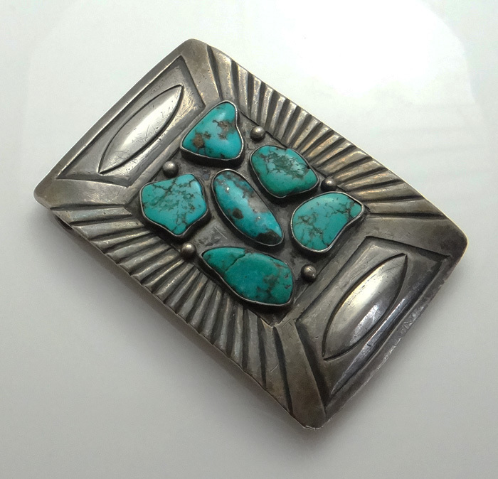 Early Native American Indian Sterling Silver Turquoise Belt Buckle