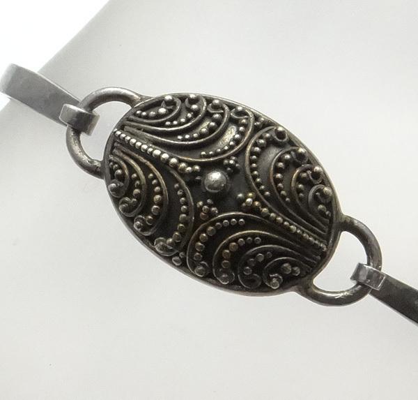 Vintage Sterling Silver Etruscan Face Bracelet