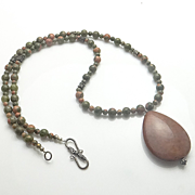 Unakite Jasper Sterling Silver Bali Bead Necklace