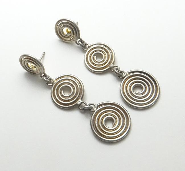 Vintage Sterling Silver Modernist Long Coil Dangle Earrings