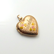 Vintage Sweethearts Photo Locket Grandmother Grandma 14K Rose Gold Filled  Enamel c1940's