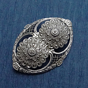 Vintage Sterling Silver Marcasite Filigree Brooch Pin  Floral Art Deco JUST REDUCED!